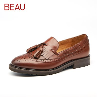 BEAU復古女鞋樂福鞋女平底布洛克流蘇單鞋小皮鞋女學院英倫風鞋21046