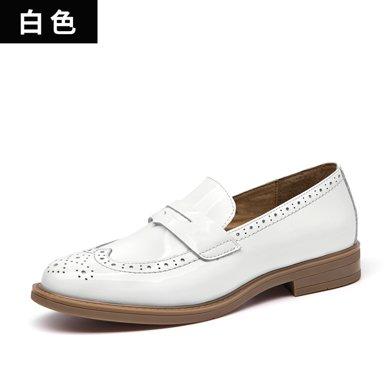 BeauToday 新款漆皮樂福鞋女英倫風小皮鞋女布洛克女鞋單鞋女A27039
