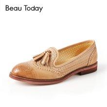 BeauToday镂空乐福鞋女夏流苏单鞋女英伦风凉鞋女平底女鞋27504