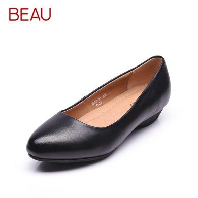 BEAU工作鞋女坡跟尖頭淺口上班鞋女黑色職業鞋媽媽鞋軟底皮鞋B15002