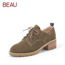 BEAU春秋磨砂复古马丁鞋女英伦风粗跟低帮系带防水台单鞋中跟女鞋15109
