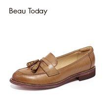 BeauToday 女鞋乐福鞋女复古英伦风女鞋流苏吊穗单鞋平底小皮鞋27075