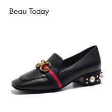 BeauToday新款乐福鞋女女士单鞋女珍珠鞋浅口粗跟单鞋女15708