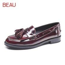 BEAU英伦风女鞋秋季平底漆皮乐福鞋女流苏豆豆鞋小皮鞋学院风单鞋A27001