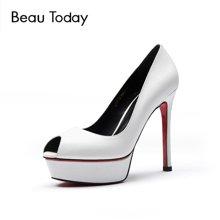 BeauToday欧美鱼嘴高跟鞋女春夏防水台红底细跟社交女鞋单鞋17002