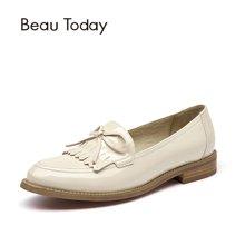 BeauToday新款乐福鞋女流苏浅口单鞋女英伦风漆皮小皮鞋女学院风27042