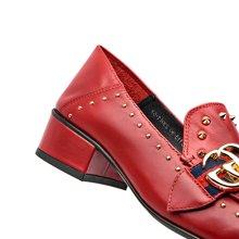 BeauToday新款铆钉鞋女浅口方头单鞋女低跟金属扣英伦乐福鞋A15113