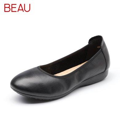 BEAU 工作鞋女黑色淺口單鞋女平底鞋圓頭媽媽鞋大碼女士小皮鞋15006