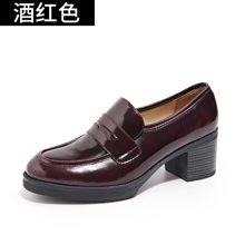 新款乐福鞋女高跟牛津鞋平底复古单鞋粗跟小皮鞋英伦风秋鞋15118