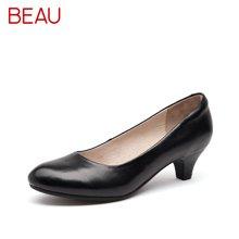 BEAU黑色工作鞋女上班职业女鞋低跟浅口单鞋空姐鞋女通勤鞋15016