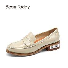 BeauToday漆皮乐福鞋女夏厚底浅口单鞋女平跟白色小皮鞋女学院风27034