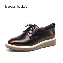 BeauToday新款松糕鞋女厚底布洛克女鞋方头单鞋女英伦系带皮鞋女21057