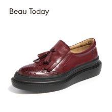 BeauToday女鞋单鞋平底休闲英伦皮鞋女松糕鞋厚底流苏吊穗布洛克27082