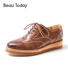 BeauToday新款松糕鞋女英伦鞋女复古小皮鞋布洛克厚底单鞋女平底21038