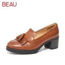 BEAU流苏乐福鞋女高跟牛津鞋平底复古单鞋粗跟小皮鞋英伦女鞋15119