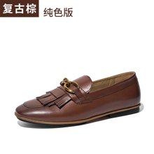 BeauToday 新款平底豆豆鞋流蘇單鞋秋季樂福鞋復古小皮鞋英倫風女鞋27063