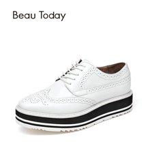 BeauToday女鞋小白鞋女布洛克松糕鞋厚底鞋新款秋季港风单鞋A21059