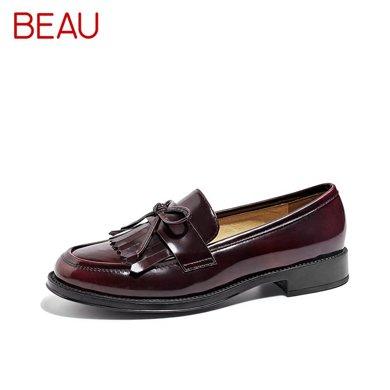 BEAU 新款乐福鞋女复古流苏单鞋平底女鞋英伦小皮鞋豆豆鞋27064