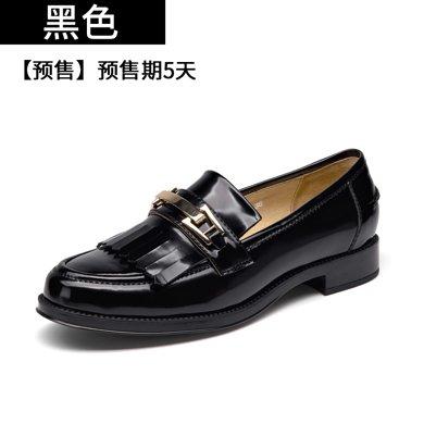 BEAU新款豆豆鞋女浅口复古单鞋女平底乐福鞋休闲学院风小皮鞋27048