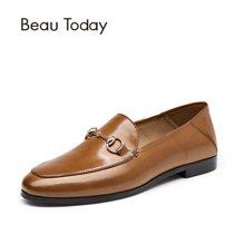 BeauToday新款两穿乐福鞋女鞋平底复古英伦女鞋复古懒人鞋27043