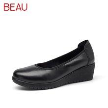 BEAU正装皮鞋女浅口单鞋坡跟工作鞋女黑色通勤鞋上班女鞋工作皮鞋15011