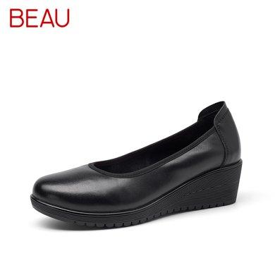 BEAU正裝皮鞋女淺口單鞋坡跟工作鞋女黑色通勤鞋上班女鞋工作皮鞋15011