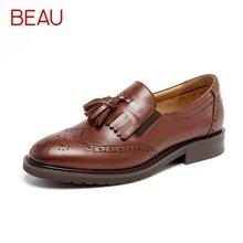 BEAU乐福鞋女布洛克女鞋英伦风流苏单鞋牛津鞋复古小皮鞋平底21047