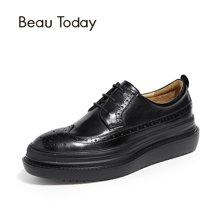 BeauToday女鞋单鞋平底英伦风小皮鞋布洛克松糕鞋女厚底 21403