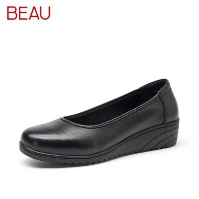 BEAU厚底工作鞋女黑色大碼淺口單鞋女坡跟OL職業女鞋正裝鞋女皮鞋15012