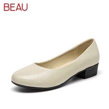 BEAU 工作鞋女黑色低跟圓頭單鞋女淺口軟底皮鞋透氣職業通勤鞋15026