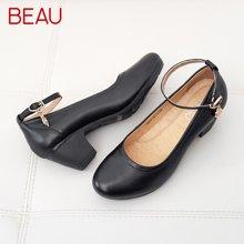 BEAU工作鞋女黑色中跟单鞋女粗跟皮鞋中老年妈妈鞋软底通勤鞋15003