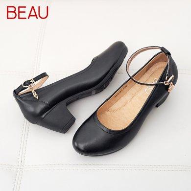 BEAU工作鞋女黑色中跟單鞋女粗跟皮鞋中老年媽媽鞋軟底通勤鞋15003