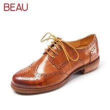 BEAU春秋布洛克女鞋厚底系带牛津鞋女复古英伦低跟单鞋休闲鞋21034