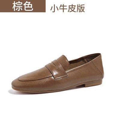 BEAU秋季新款乐福鞋女浅口简约复古单鞋英伦风休闲平底皮鞋27061