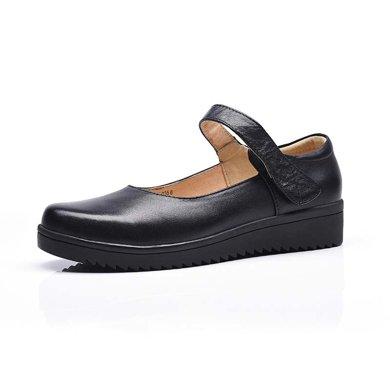 BEAU工作鞋女圆头妈妈鞋黑色软底女士皮鞋通勤鞋女平底女单鞋1607