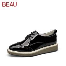 BEAU新款松糕鞋女厚底小白鞋英伦风布洛克鞋女深口小皮鞋女单鞋21082