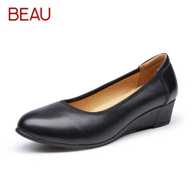 BEAU工作鞋女黑色坡跟圆头职业女鞋黑色上班大码女鞋15007
