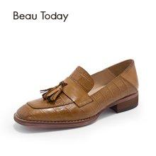 BeauToday 鱷魚紋樂福鞋女英倫風女鞋復古方頭流蘇小皮鞋春季單鞋女27053