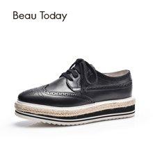 BeauToday欧美厚底松糕鞋女麻绳草编英伦风布洛克单鞋牛津鞋21044