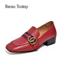 BeauToday女鞋春秋季新款單鞋女小皮鞋方頭樂福鞋粗跟復古15710