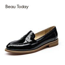BeauToday新款乐福鞋女平底漆皮单鞋女平跟英伦风女鞋学生小皮鞋27044