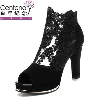 百年纪念新款秋冬网纱高跟鞋 蕾丝鱼嘴女鞋 粗跟高跟女鞋子 bn/1028