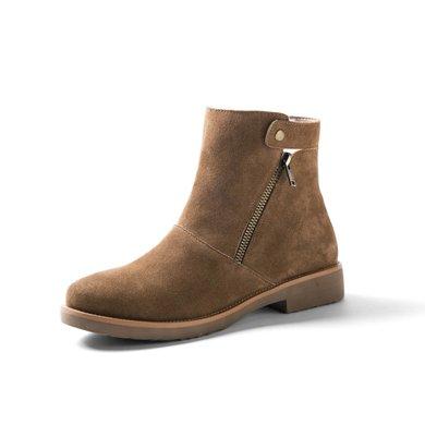 青婉田雪地靴女羊皮毛一体平底防滑短靴女棉鞋学生短筒靴子Y17DX0666