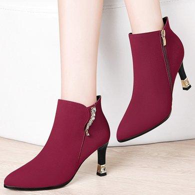 百年紀念新款百搭平底舒適內增高圓頭內增高女靴 側拉鏈休閑短靴 防水臺女鞋子bn1526