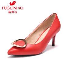 富贵鸟时尚头层牛皮尖头高跟女单鞋酒杯跟工作鞋F76G635C
