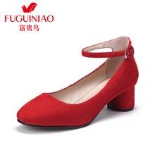 富贵鸟女鞋 单鞋女粗跟反绒皮 方头中跟鞋婚鞋女 F79Y304S