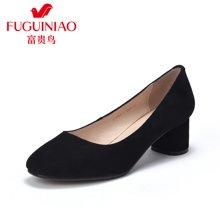 富贵鸟女鞋单鞋 女粗跟中跟单鞋工作鞋 F79Y303S