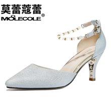 莫蕾蔻蕾2018新款韩版女鞋细高跟浅口休闲单鞋   70003