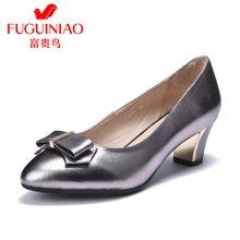 富貴鳥淺口單鞋女中跟粗跟女鞋蝴蝶結通勤工作鞋 F79B526C