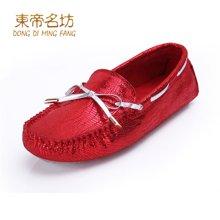 东帝名坊豆豆鞋女春夏蝴蝶结单鞋驾车鞋大码女鞋舒适妈妈鞋平跟休闲鞋 D56TH998